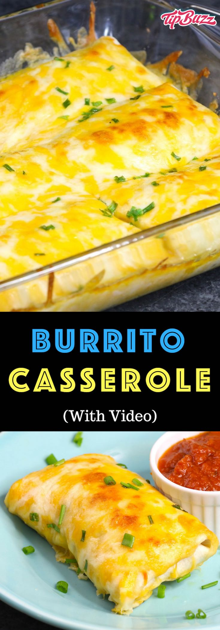 Burrito Casserole is an easy family favorite recipe! Lean ground beef is cooked with beans, onions, corn and seasonings, and then wrapped in flour tortillas. The burritos are placed in a baking dish, covered with cheese and baked until golden brown.