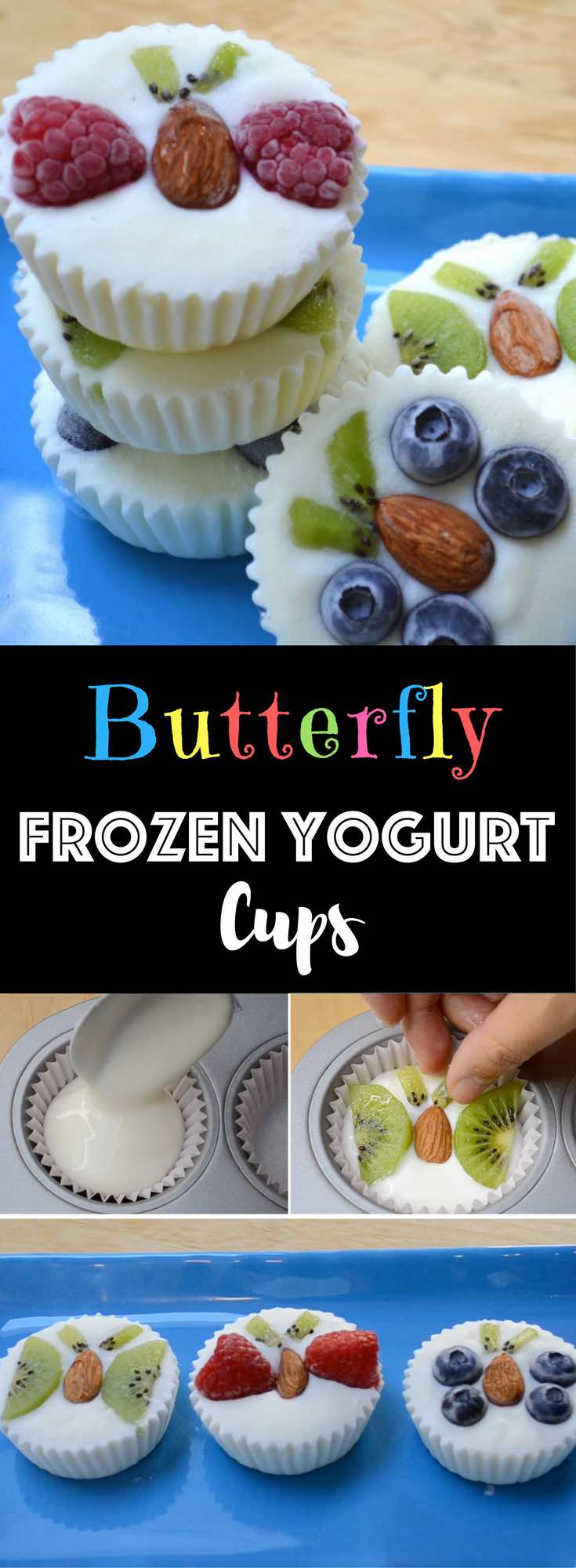 Healthy Fruity Frozen Yogurt Snacks – An easy and refreshing dessert that's good for you. A fun way to enjoy FroYo! These creamy frozen yogurt bites come with fruits shaped into butterflies. All you need is your favorite yogurt, some fruits and almonds. So delicious and so fun! Quick and easy recipe. Kids friendly. Video recipe.
