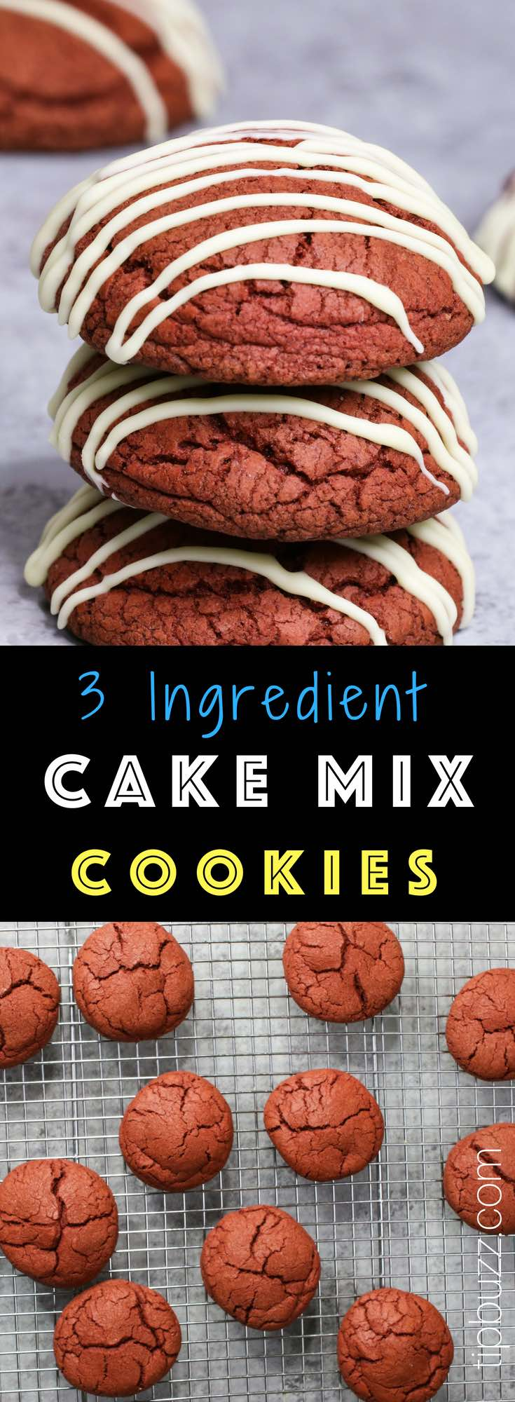 These Cake Mix Cookies are soft, moist and so delicious! You only need 3 ingredients to make them and nobody will know you used a cake mix. There are endless flavor combinations that make them so much fun for a party!#CakeMixCookies