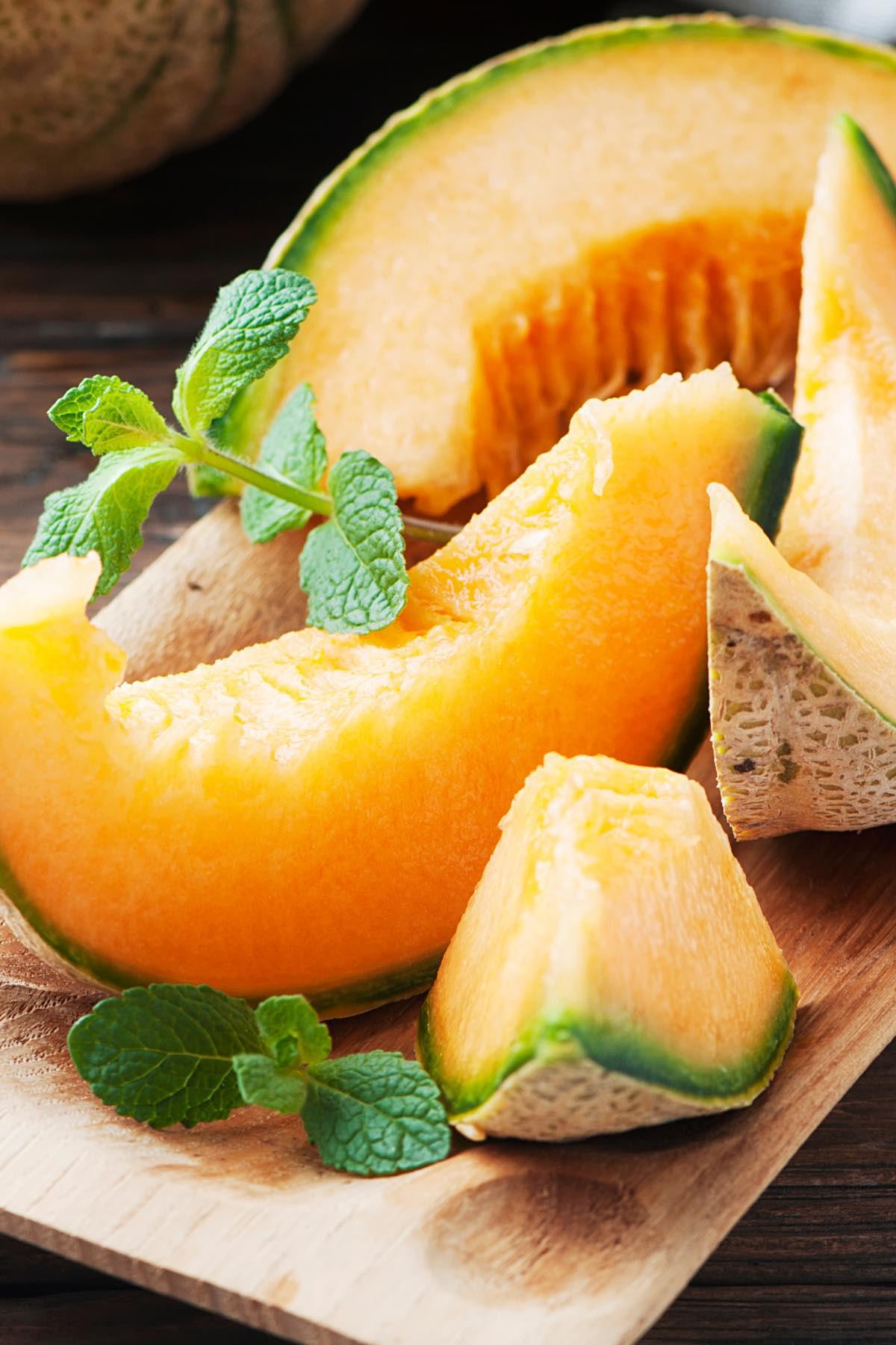 Serving of ripe cantaloupe