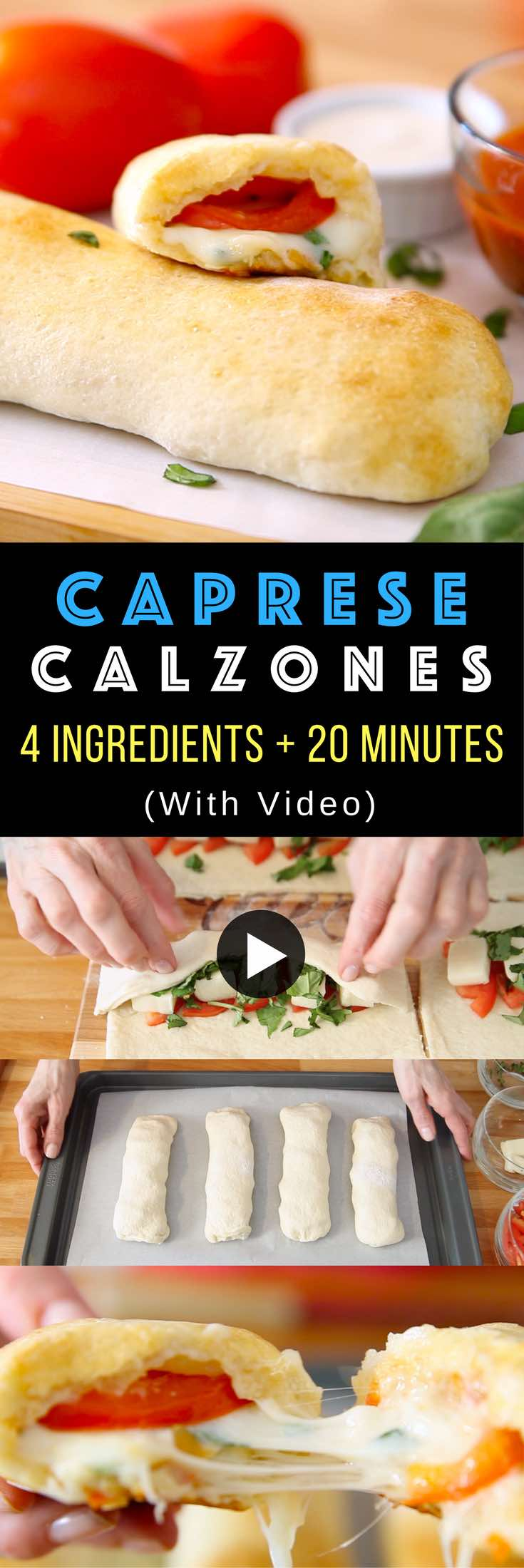 Easy Caprese Calzones – Quick and easy healthy dinner recipe. It comes together in less than 20 minutes. All you need is only 4 ingredients: refrigerated pizza dough, fresh basil, tomatoes and mozzarella cheese. So delicious.  This simple and easy recipe. Vegetarian. Video recipe. #caprese #calzone #4ingredients #quickandeasydinnerrecipes #quickandeasydinnerr #quickandeasymeal #videorecipes #vegetarian #easydinner #easycooking #easyrecipe # #mozzarella #healthydinner