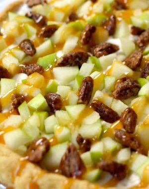 This easy Caramel Apple Fruit Pizza recipe is delicious