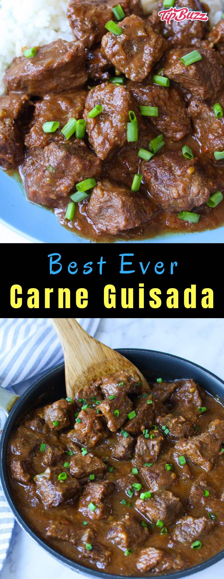 Carne Guisada is the ultimate Mexican beef stew made with chuck steak, onions, garlic, green bell pepper, tomatoes and seasoned with cumin, salt and pepper. It's a delicious Tex Mex main you can make on the stovetop or crock pot for dinner, a potluck or a party.