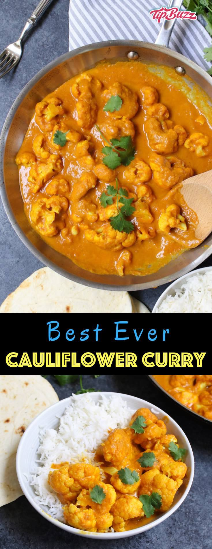Cauliflower Curry is a rich, creamy and aromatic dish that my whole family loves! This easy coconut curry is loaded with tender cauliflower simmered with authentic spices and is cooked in one pot in under 30 minutes.