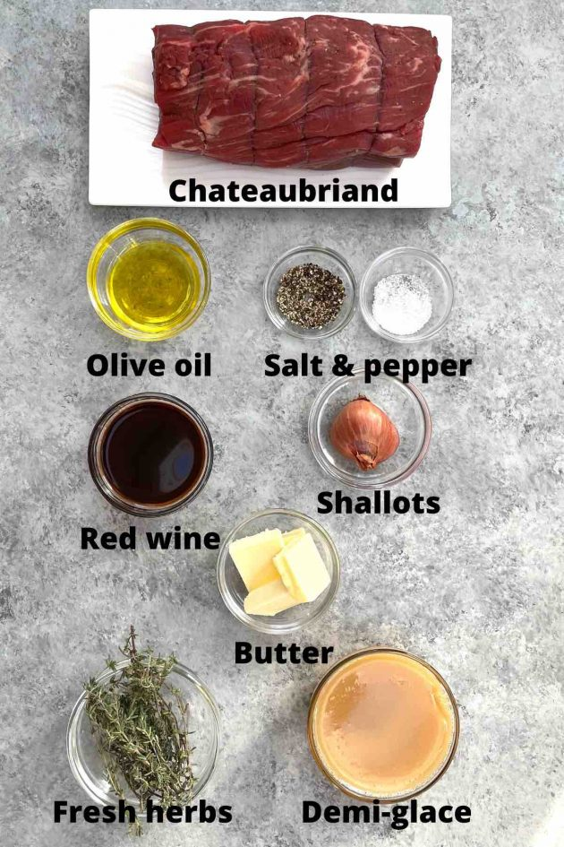 Ingredients used to make a chateaubriand