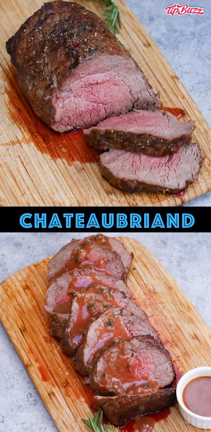 Chateaubriand is a thick center cut of beef tenderloin, sometimes called a chateaubriand steak or filet mignon roast. This traditional French dish is perfect for two served with potatoes and a homemade sauce!