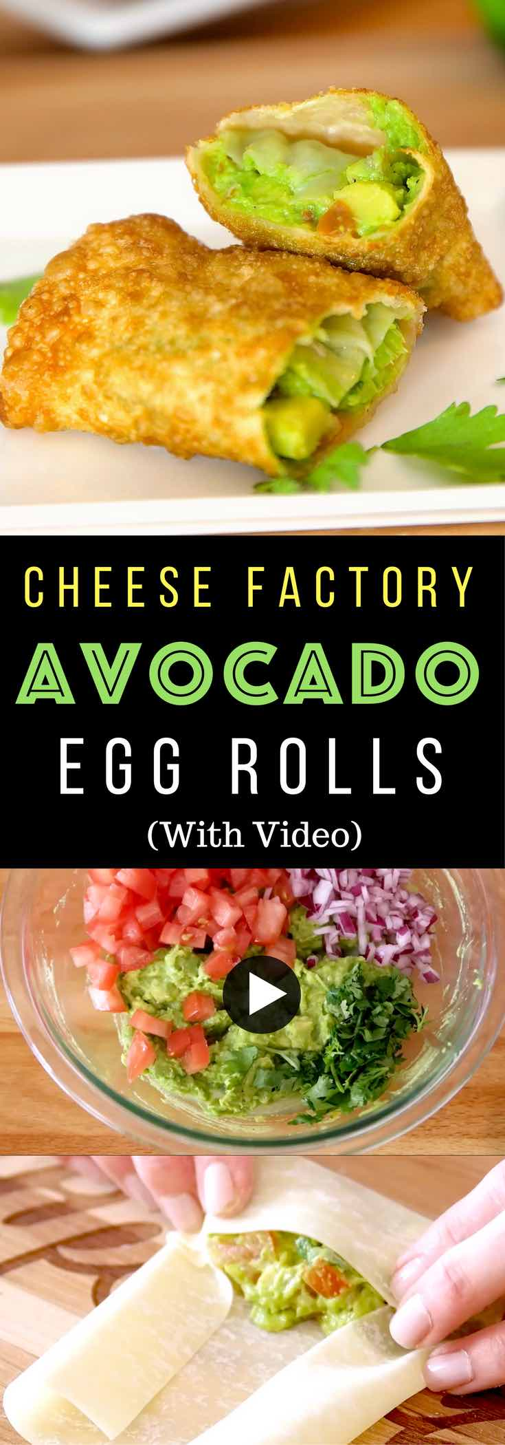 Copycat Avocado Egg Rolls - So tasty and so easy to make! All you need is only a few simple ingredients: egg rolls, avocado, cilantro, tomato, red onion, limes and oil! So Good! Quick and easy recipe! Party food and game day recipe. Appetizers. Video recipe. | Tipbuzz.com