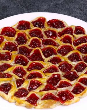This Cherry Pie Pull Apart is a fun 2-ingredient dessert that's perfect for sharing and parties