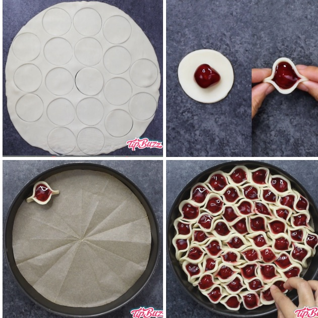 This graphic shows the 5 key steps for making a Cherry Pie Pull Apart