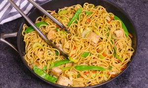 The Difference Between Chow Mein and Lo Mein: they are actually the same noodle, but chow mein is fried whereas lo mein is stirred or tossed