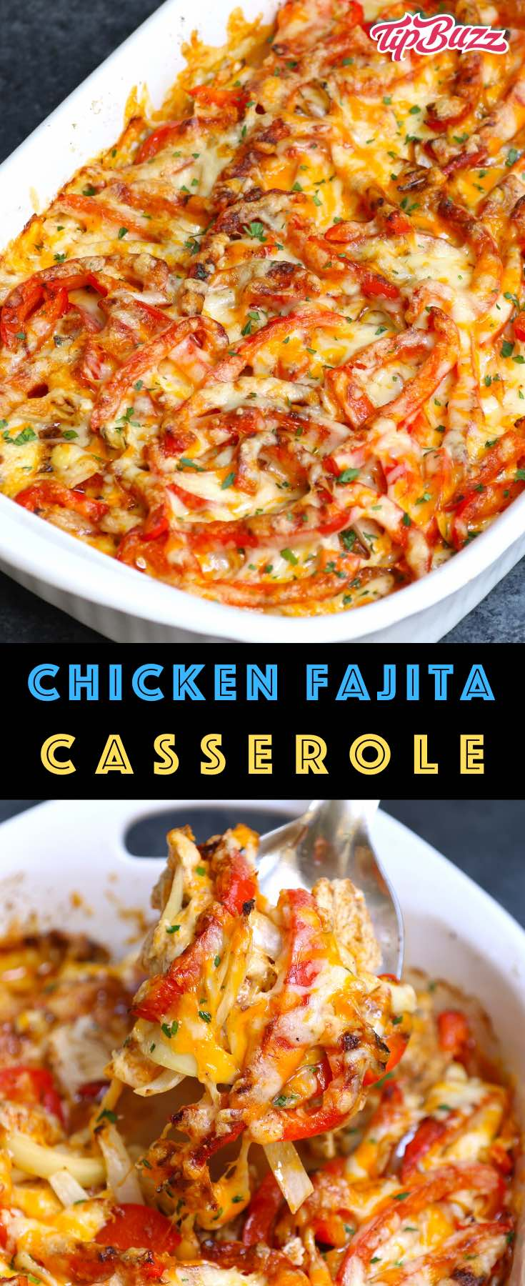 Chicken Fajita Casserole made with chicken, onions and bell peppers, fajita seasonings and topped with melted cheese. An easy Tex Mex dinner idea that's ready in 30 minutes with mouthwatering Meican fajita flavors! #fajitacasserole #chickenfajitacasserole