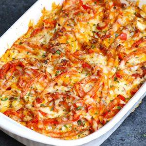 Chicken fajita casserole in a baking dish