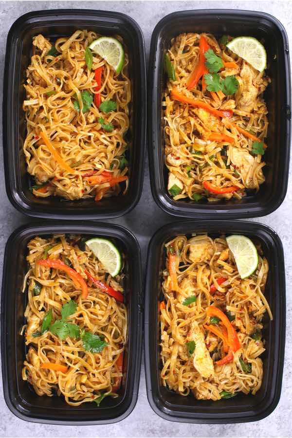 Save time and money with this authentic and delicious Chicken Pad Thai Meal Prep. In less than 30 minutes, you can cook dinner or lunch for the entire week! It's so much better than takeout. Make ahead recipe. Healthy. Video recipe. | Tipbuzz.com