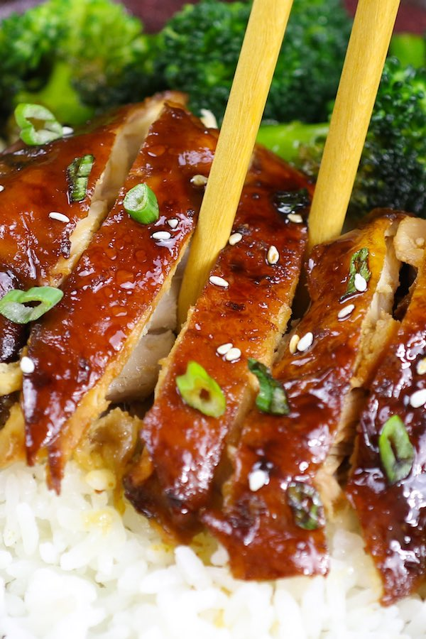 Chicken Teriyaki served over steamed rice and broccoli