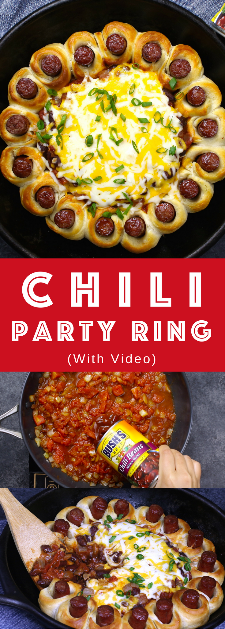 Chili Party Ring – the most delicious appetizer to share at your next party. Easy to make in only 30 minutes with a few simple ingredients: biscuit dough, your favorite wieners, onions, chili powder, cumin, Hunt's Tomatoes, BUSH's slow-simmered chili beans, shredded cheese and green onions. So good. Video recipe. #AD