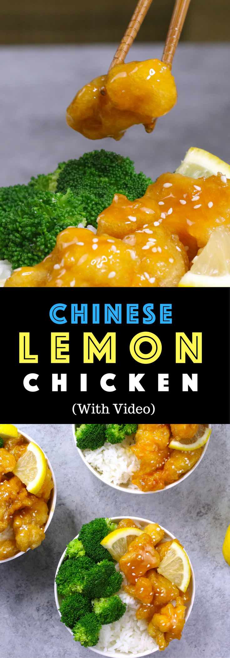 Easy, crispy and most unbelievably delicious Lemon Chicken with Rice Bowls. So much better than take outs! All you need is only a few ingredients: chicken breast, lemon, salt & pepper, egg, oil, sugar, and cornstarch. One of the best Asian dinner ideas! Served with rice and broccoli. Quick and easy dinner recipe. Video recipe. | Tipbuzz.com