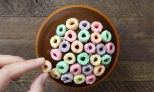 Chocolate Bowls With Fruit Loops