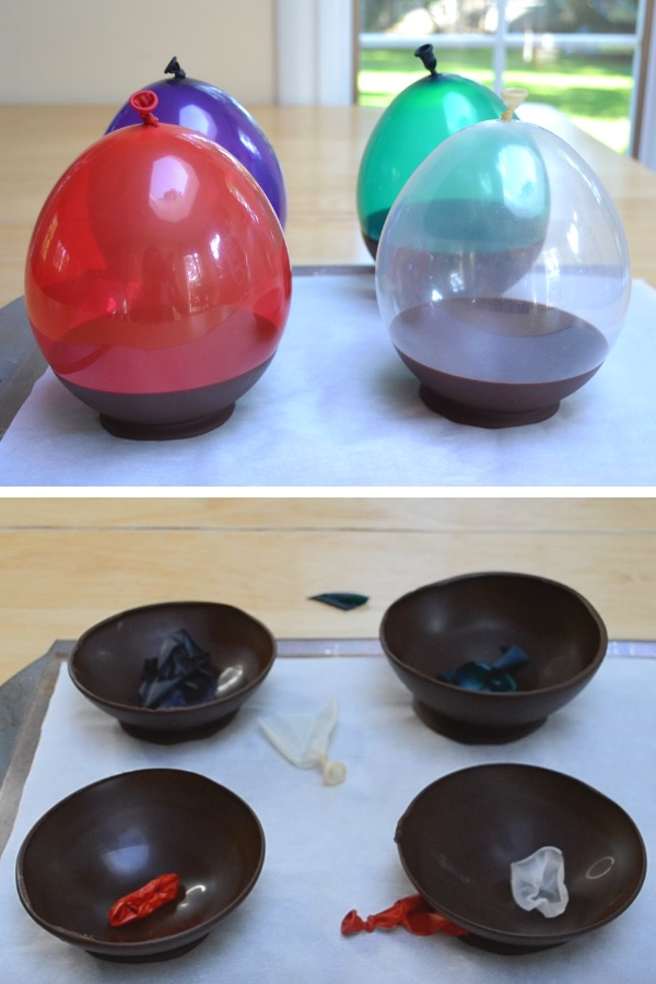 This photo shows homemade chocolate bowls before and after the balloons molding them were popped
