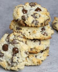 4 Ingredient Chocolate Chip Coconut Cookies – The BEST soft and chewy coconut chocolate chip cookies made with only 4 ingredients: coconut flakes, almond flour, chocolate chips, and sweetened condensed milk! So simple and so delicious! It's great for snack, parties, or dessert! Great for gifts too! Quick and easy recipe. Vegetarian. 20 minute desserts. Video recipe. | Tipbuzz.com