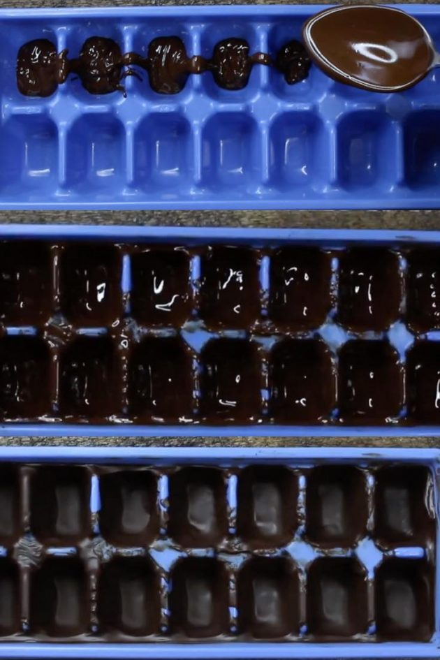 This graphic shows the steps to coat an ice cube tray with chocolate and freeze to harden