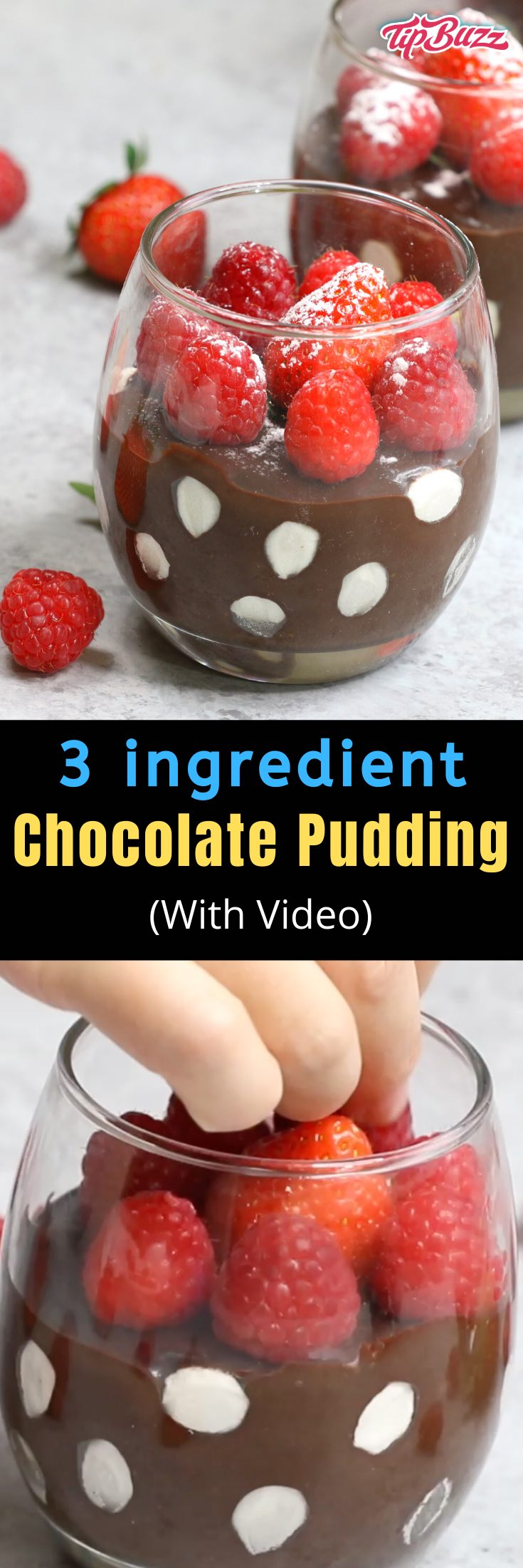 Chocolate Pudding with polka dot marshmallows is a no-bake dessert that's easy and fun to make with just 3 ingredients! All you need is chocolate, cream and marshmallows. Perfect for Mother's Day and Valentine's Day as well as birthdays and parties. #ChocolatePudding #EasyChocolatePudding