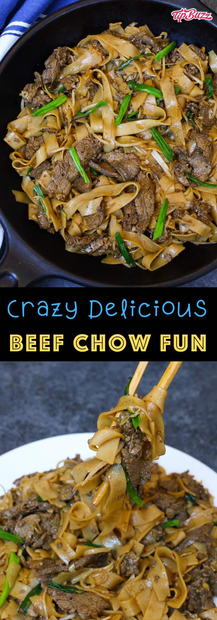 This Beef Chow Fun is surprisingly easy to make at home in under 30 minutes. It's loaded with extra-wide ho fun rice noodles, tender beef slices and flavorful vegetables. Then it's all tossed in a delicious homemade chow fun sauce that tastes like it came from your favorite Chinese restaurant!