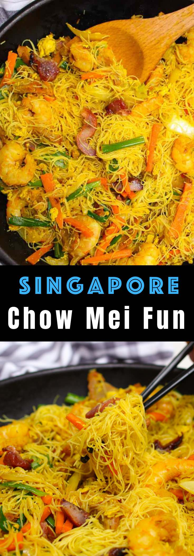Chow Mei Fun is a classic Cantonese dish made with thin rice noodles, vegetables and pork or shrimp although there are many substitutions possible. It's pure comfort food that's ready in just 20 minutes! #chowmeifun @singaporenoodles