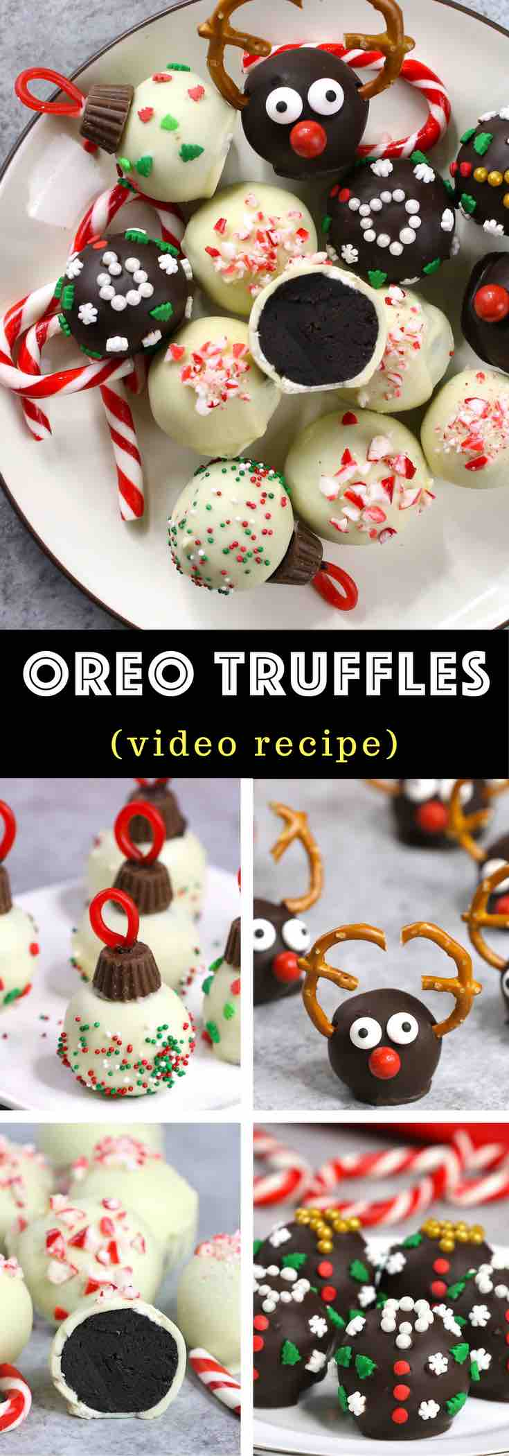 Oreo Truffles - the easiest and most beautiful dessert you will ever make! Only 4 ingredients required: Oreos, cream cheese, white chocolate and dark semi-sweet chocolate. Sprinkles are optional. Oreo crumbs are mixed with creamy cheesecake, and then covered with melted chocolate. So Good! Quick and easy recipe, party desserts. Holiday recipes. No Bake. Christmas treats. Vegetarian. Video recipe. | Tipbuzz.com