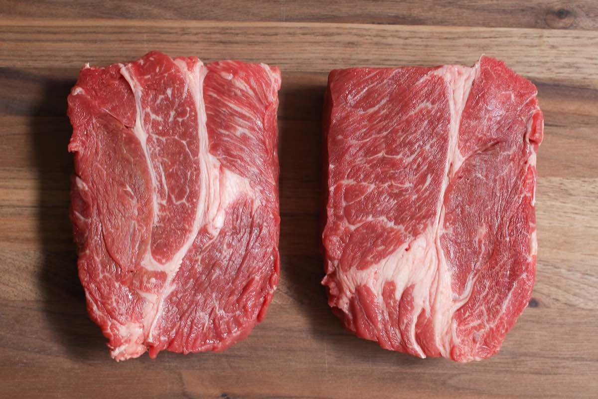 Raw chuck eye steaks cut from the chuck primal section