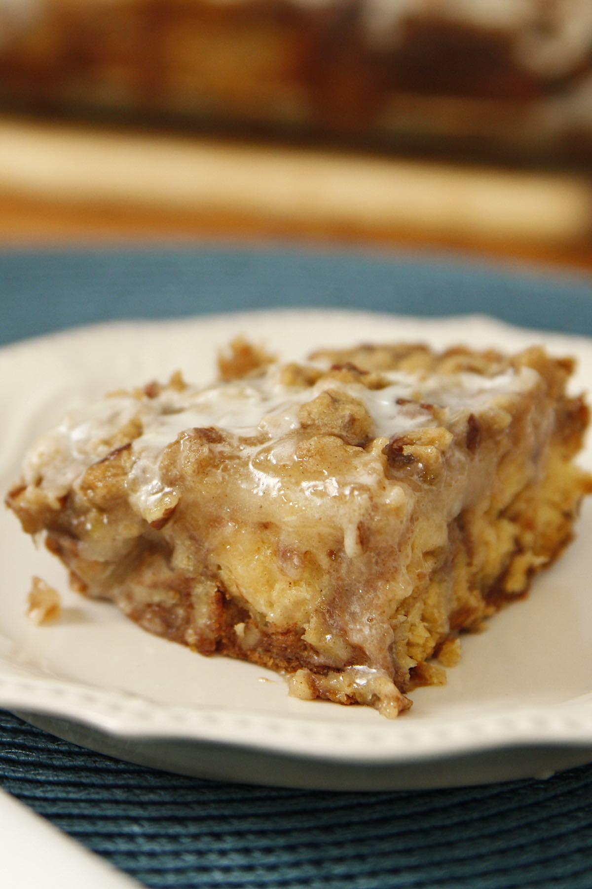 Freshly made Cinnamon Roll Apple Bake on a serving plate
