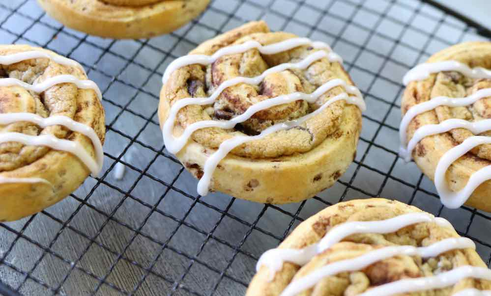 This Cinnamon Roll Chocolate Chip Cookie recipe is easy to make with 3 ingredients