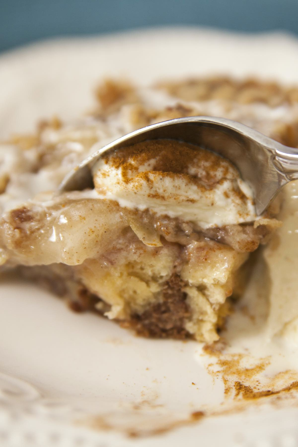 Cinnamon rolls with apple pie filling and topped with ice cream