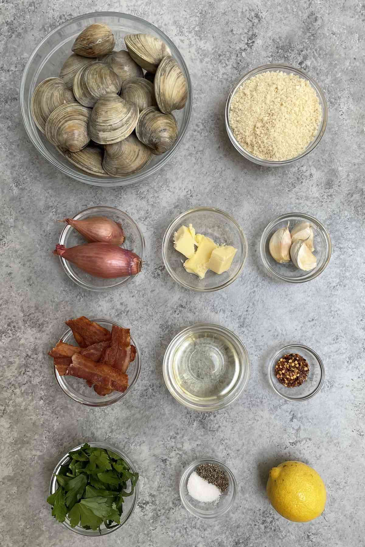 Ingredients for clams casino