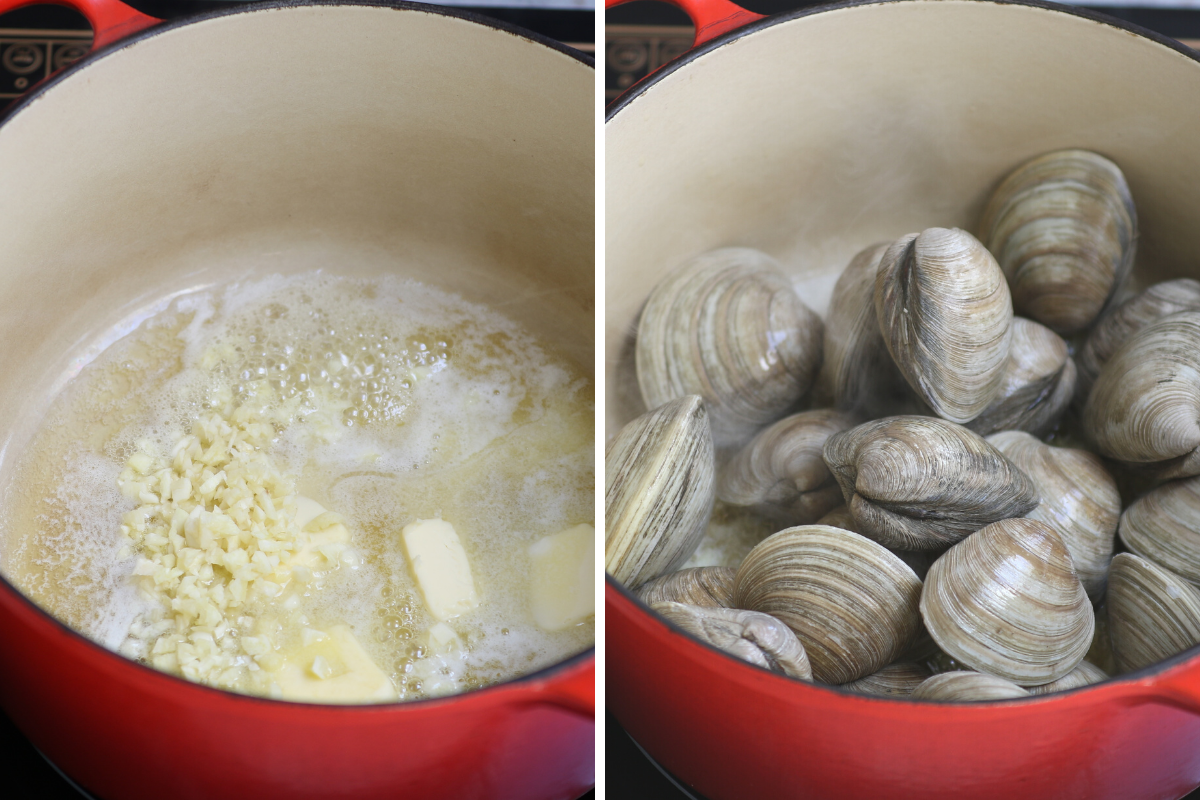 Sauteeing garlic and then adding clams to the pot