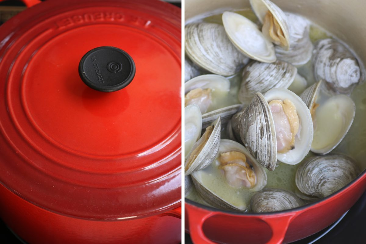 Covering the pot to steam the clams