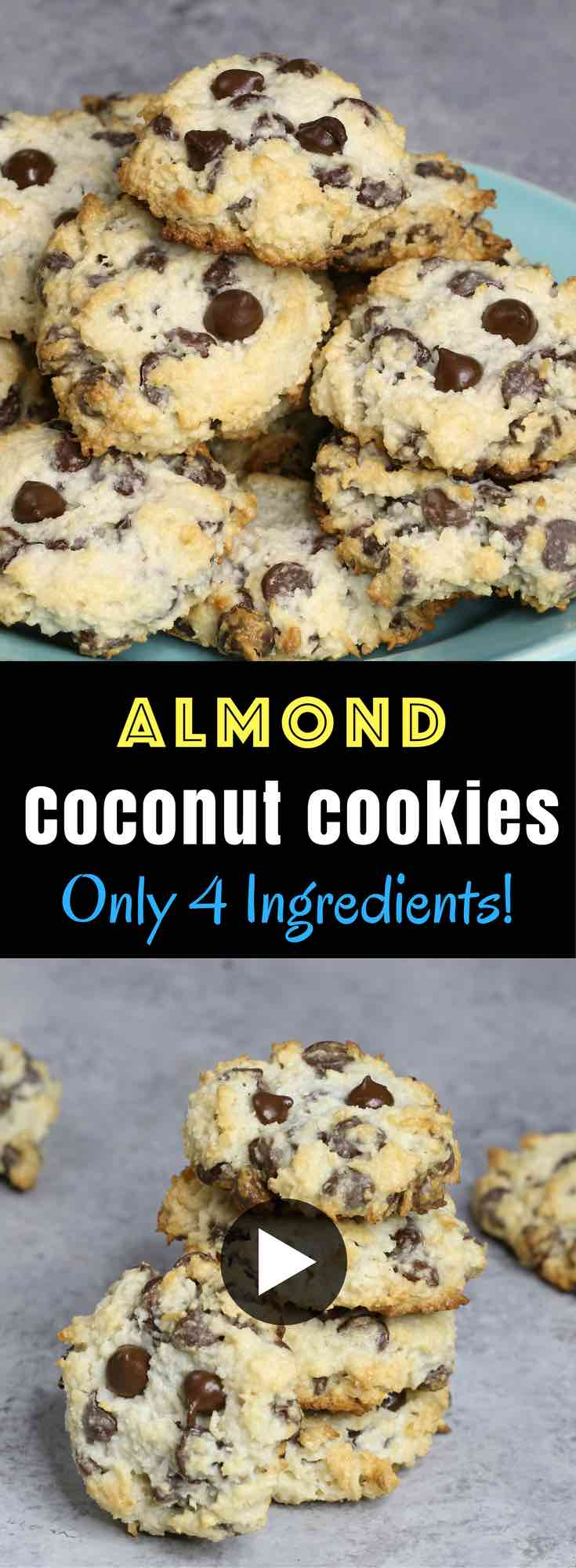 4 Ingredient Chocolate Chip Coconut Cookies Recipe | TipBuzz