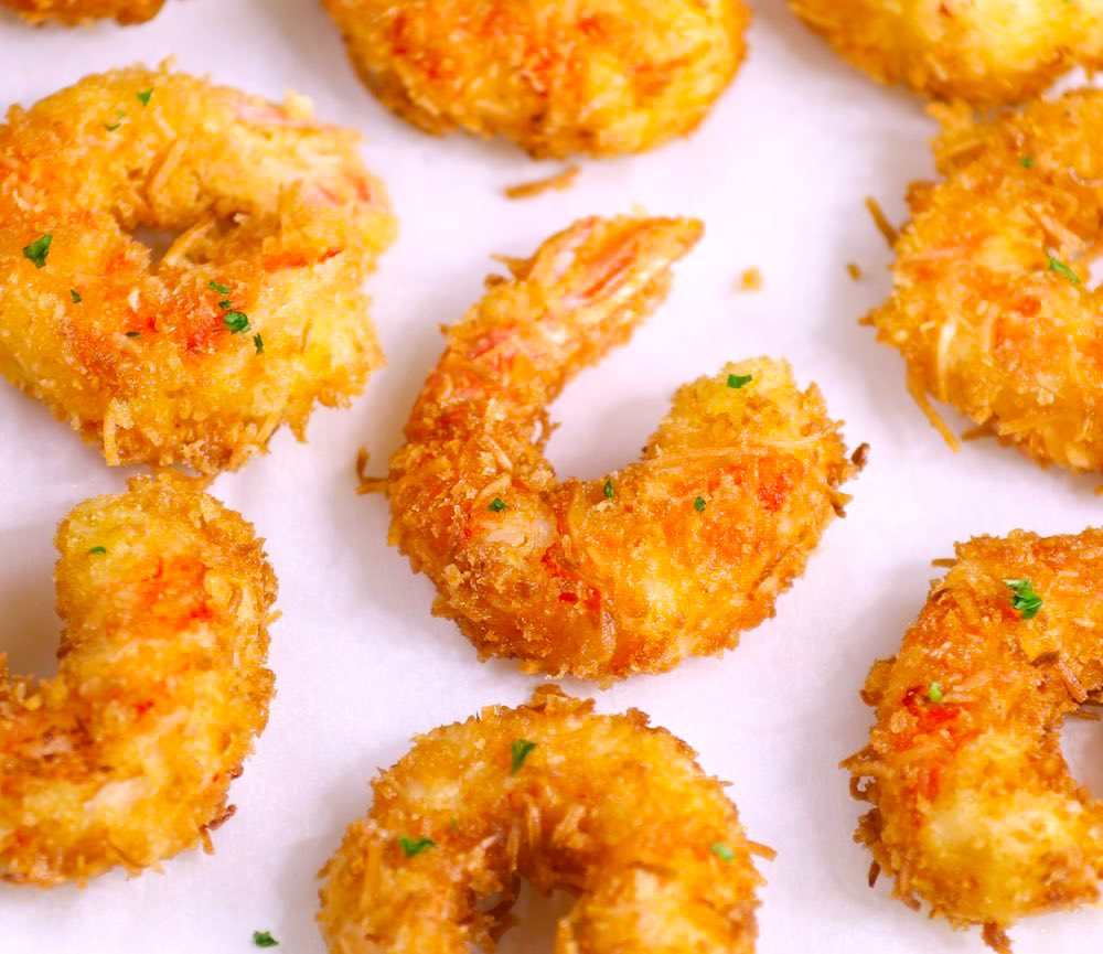 Baked Coconut Shrimp made with large pink shrimp