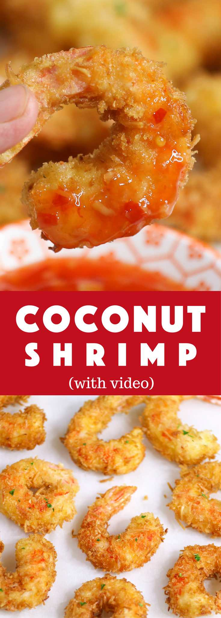 These Coconut Shrimp make an irresistible appetizer that's tender on the inside, and crispy, sweet and crunchy on the outside. They're mouthwateringly delicious and will be the first to go at a party!