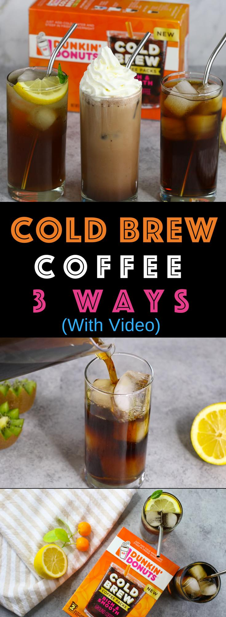 Cold Brew Coffee is so smooth and balanced without the acidity and bitterness of drip coffee. It's so easy to make at home by steeping Dunkin' Donuts Cold Brew coffee packs in cold water overnight. Make it 3 different ways: Cold Brew with Simple Syrup, Cold Brew Mochas and Cold Brew Lemonade. Perfect for parties and barbecues in summer and every day year round! Video tutorial #coldbrew #DunkinYouBrewYou #walmart AD