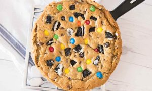 This Cookie Skillet recipe shows how to make an enormous cookie in a cast iron skillet