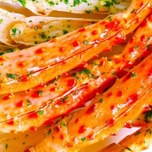 Crab legs with garlic butter make a mouthwatering seafood dinner