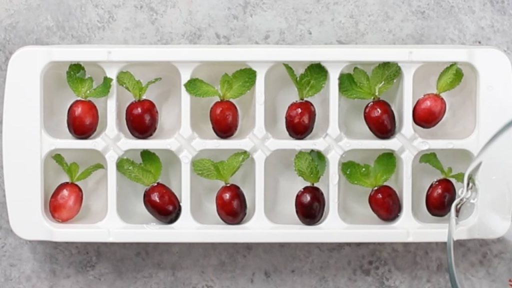 Cranberry and mint ice cubes to make Lemonade Cocktails