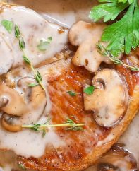 Cream of Mushroom Pork Chops with juicy and tender pork chops smothered in rich and creamy mushroom soup! This comforting Mushroom Pork Chops dish makes an easy dinner recipe for busy nights with one pan and 30 minutes!