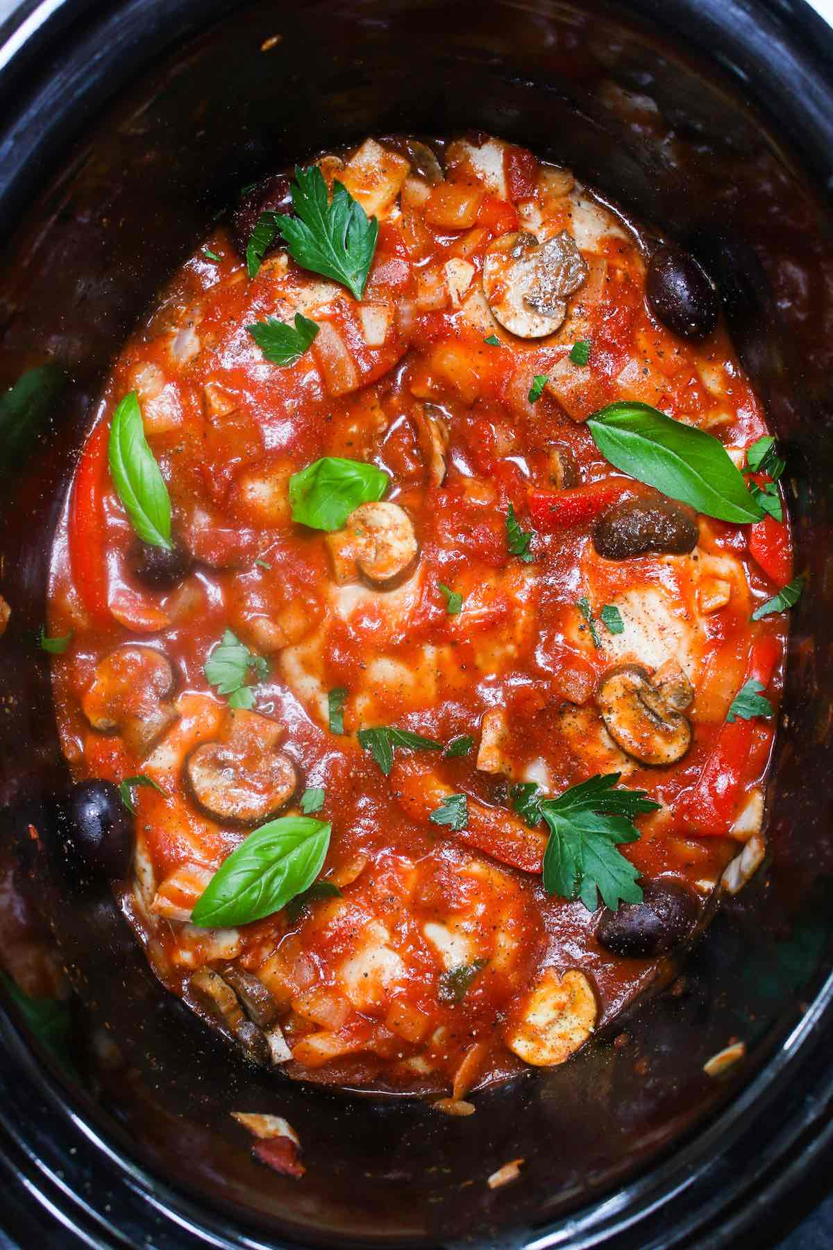 This easy and healthy Crock Pot Chicken Cacciatore is a tender and flavorful Italian chicken dinner recipe made in a slow cooker. Chicken thighs or chicken breasts are simmered in a rich and mouth-watering cacciatore sauce, absorbing all the delicious flavors!