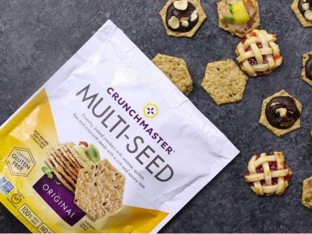 These Easy Party Appetizers are made with whole grain Crunchmaster crackers with DIY toppings