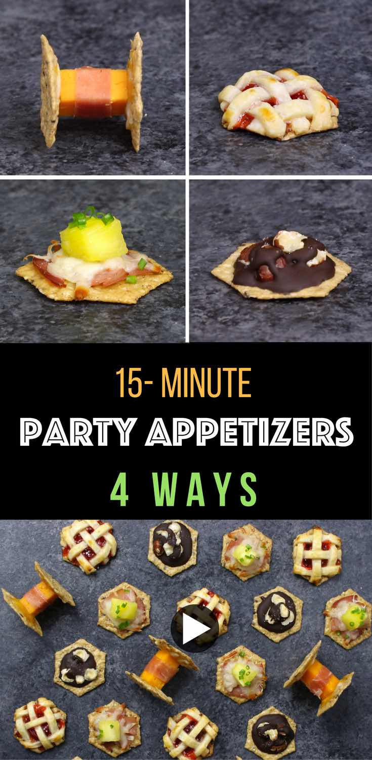4 Ways Easy Party Appetizers – Cheesy Spaceship Crackers, Cherry Pie Bites, Hawaiian Pizza Bites, Chocolate Hazelnut Clusters, each made with 5 ingredients or less, including Crunchmaster crackers that are gluten-free and non-GMO. Great for entertaining. Video recipe. #crunchmaster #ad