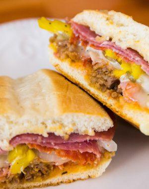 A Cuban sandwich on a serving plate