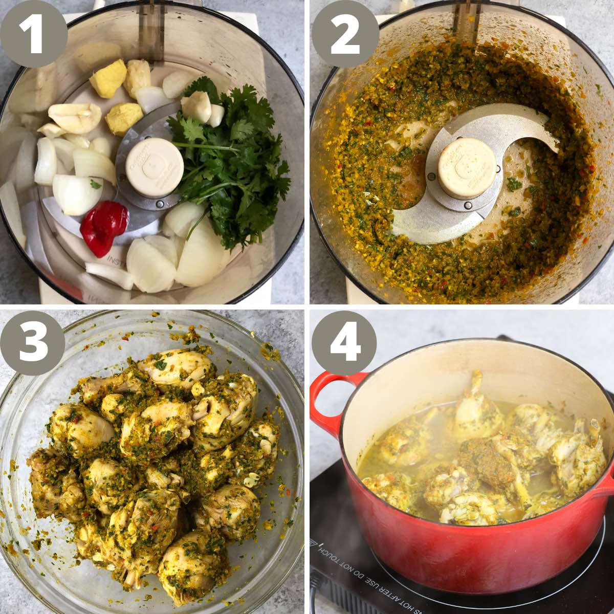 The key steps for making curry chicken: making the paste, coating the chicken and cooking in a pot