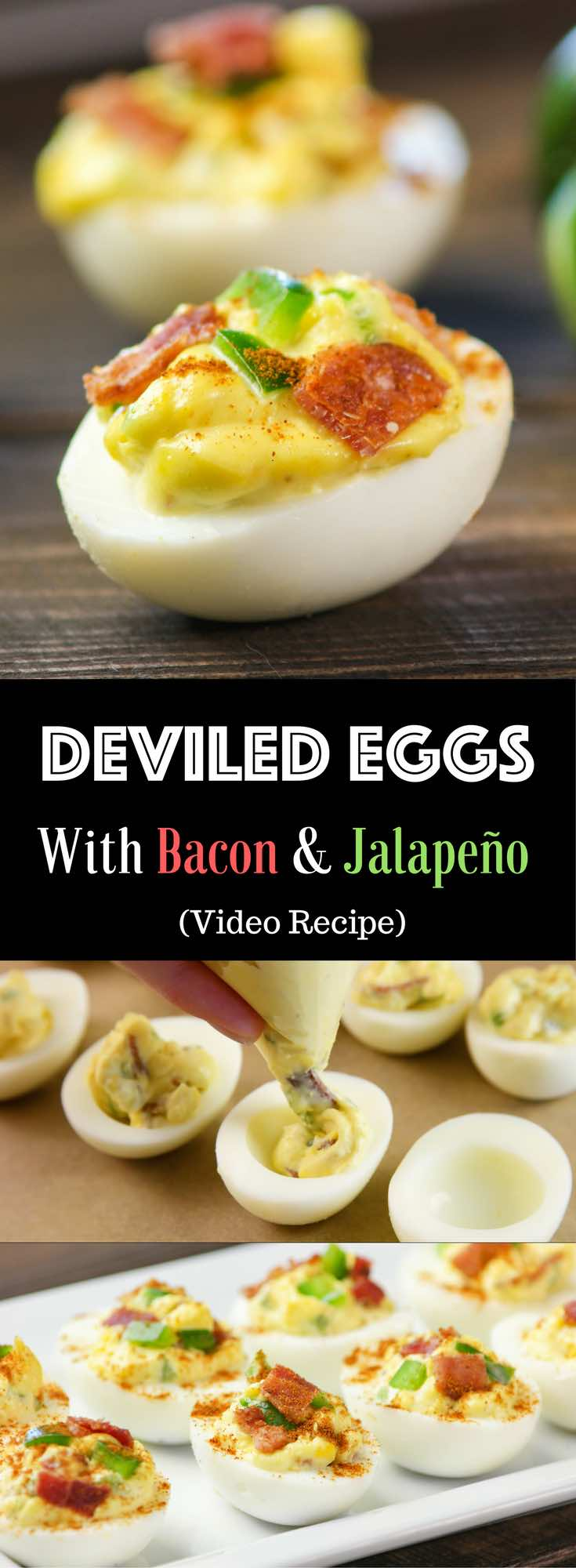 Bacon And Jalapeno Deviled Eggs – the most popular appetizer that will spice up any special occasions, from barbeques, Mother's Day Brunch to Father's Day Dinner! All you need is some simple ingredients: eggs, bacon, Jalapeno, mayonnaise, mustard, rice vinegar and sugar. So easy and so delicious! Quick and easy recipe. Party Food. Video recipe. | Tipbuzz.com