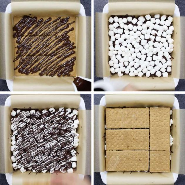Deep Fried Smores - this graphic shows the process for layering together the graham crackers, chocolate and marshmallows